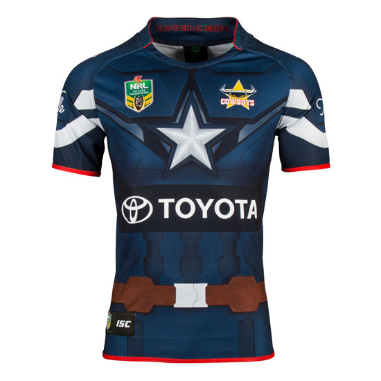 Camiseta de North Queensland Cowboys Captain America Marvel 2017